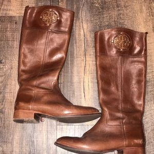 Brown leather riding boot
